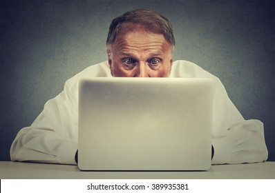Closeup portrait elderly surprised man sitting at table working on laptop computer looking carefully at screen isolated on gray office wall background