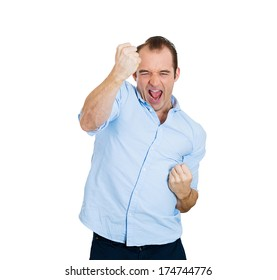 Closeup portrait of excited, energetic, happy, screaming student, business man winning, arms, fists pumped, celebrating success, isolated on white background. Positive human emotion, facial expression