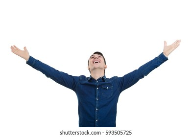 Closeup portrait of excited, man looking up winning celebrating success, isolated on white background.