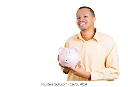 Closeup portrait of excited young successful happy man student introducing his friend, the piggy bank, isolated on white background. Financial money savings, corporate earnings report or education