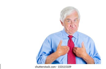 Closeup portrait of an executive, businessman, grandfather, senior man pointing at himself as if to say, you mean me, you talking to me? Isolated on white background with copy space