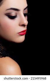 Closeup portrait of fashion makeup
