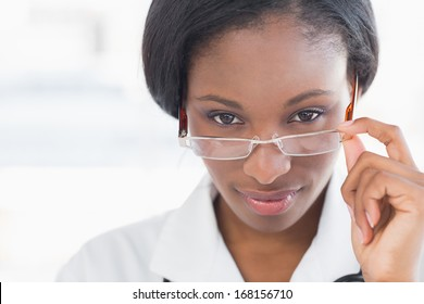 Close-up portrait of a female doctor with eye glasses in the hospital