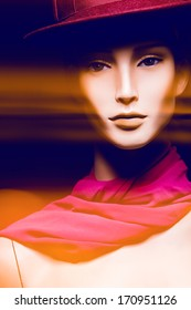 close-up portrait of female mannequin, in camera motion effect