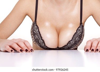 closeup portrait of a female sexy big wet breast