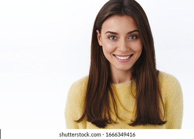 Close-up portrait feminine gorgeous young brunette woman with beaming white smile, looking camera happy grinning, concept of beautiful people and skincare products promo, white background
