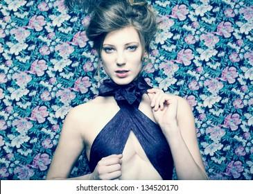 Close-up portrait of a fresh beautiful fashion girl. Retro style