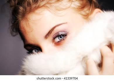 Close-up portrait of a fresh and beautiful young fashion model