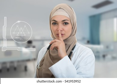 Closeup portrait of friendly, confident muslim with hijab doctor showing shh sigh, silence.