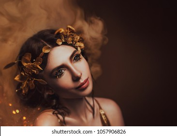 Close-up portrait. Girl with creative make-up and with golden eyelashes. The Greek goddess in a laurel wreath with flowers and handmade roses. Art Photo