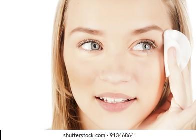 cf344b30b327 closeup portrait of a girl, skin care, cotton pads, healthy skin, beautiful