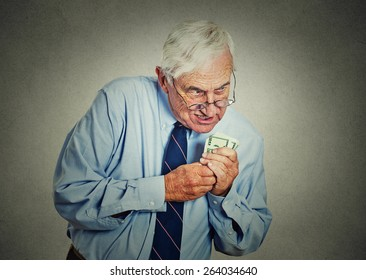 Closeup portrait greedy senior executive, CEO, boss, old corporate employee, mature man, holding dollar banknotes isolated on gray wall background. Negative human emotion facial expression