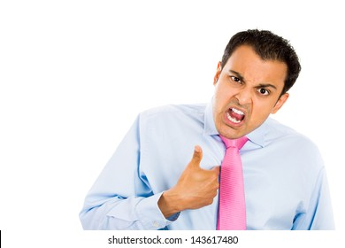 Closeup portrait of guy getting mad and asking you talking to me, or you mean me?  copy space on left, Isolated on white background