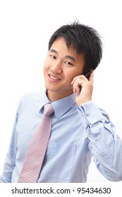Closeup portrait of handsome business man speaking mobile phone isolated on white background, model is a asian