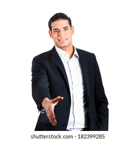 Closeup portrait handsome happy smiling young business man, confident student, entrepreneur, giving handshake, isolated white background. Positive face expressions, emotions, feelings, attitude