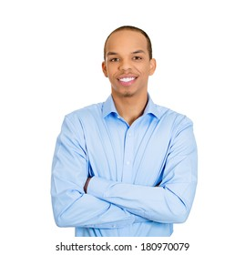 Closeup portrait of handsome happy, young business man, confident student, entrepreneur, arms crossed folded, isolated on white background. Positive face expressions, emotions, feelings, attitude.
