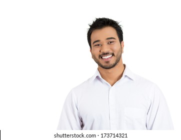 Closeup portrait of handsome, smiling, successful young business man, student, worker, employee, isolated on white background. Positive human emotions facial expressions, feelings, attitude perception