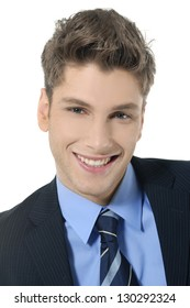 Closeup portrait of handsome young business man smiling