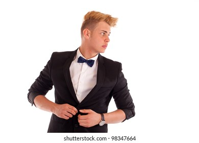 Close-up portrait of a handsome young man in a business