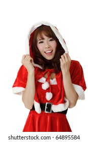 Closeup portrait of happy Asian Christmas girl wear Santa Claus clothes.