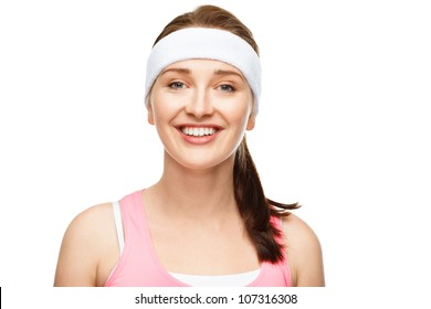 Closeup portrait happy athletic woman in gym clothes on white background