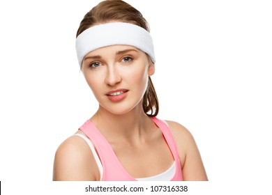 Closeup portrait happy athletic woman tennis player on white background