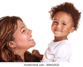 Closeup portrait of happy cheerful African family isolated on white background, young mother looking on her son, love concept