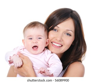 Close-up portrait of happy cheerful young mother with little baby - isolated