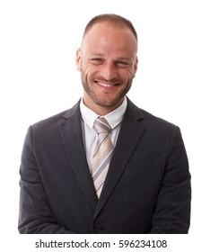 Closeup portrait of happy elegant businessman, smiling, looking at camera.