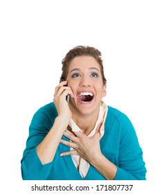 Closeup portrait of happy excited woman having great stimulating discussion with someone, good news, isolated on white background. Positive emotion facial expression feelings, reaction, attitude.