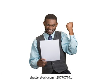 Closeup portrait happy excited young business man executive looking monthly statement glad to pay off bills isolated white background. Positive emotion facial expression. Financial success good news