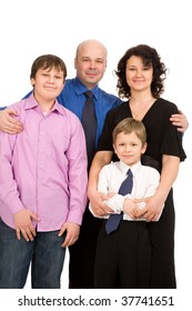 closeup portrait of the happy family isolated on white background