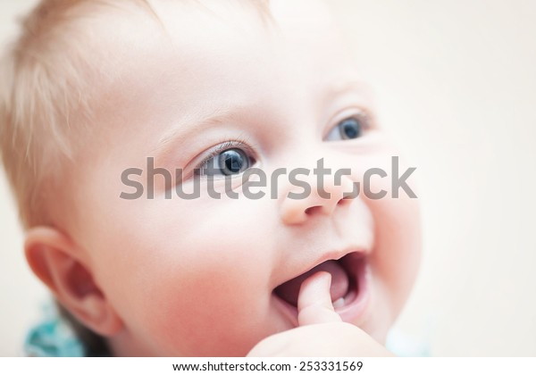 Closeup Portrait Happy Funny Baby Finger Stock Image Download Now