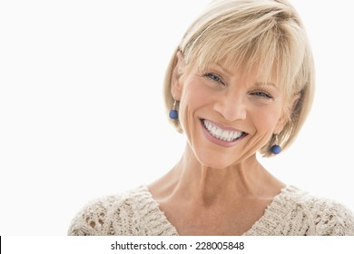 Close-up portrait of happy mature woman over white background