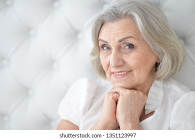 Close-up portrait of happy senior woman portrait