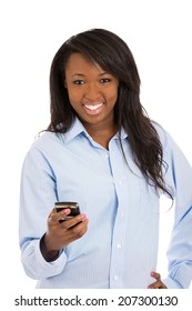 Closeup portrait, happy, smiling girl, looking at you, holding cell, smart phone, isolated white background. Positive facial expression, reaction. Business woman sending text message from her mobile.