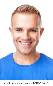 Closeup portrait of happy smiling young man isolated on white background