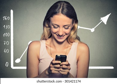 Closeup portrait happy woman using her smart phone