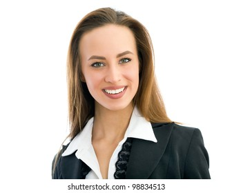 Closeup portrait of a happy young business woman