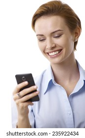 Closeup portrait of happy young businesswoman using mobilephone.