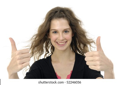 Closeup portrait of a happy young lady showing thumb's up sign