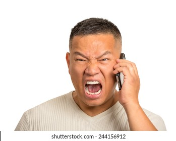 Closeup portrait headshot angry middle aged man, guy mad worker, pissed off employee shouting while on phone isolated on white background. Negative human emotion face expression feeling attitude