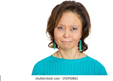 Closeup portrait, headshot, sad, unhappy, grumpy, skeptical, analyzing, senior woman with bad attitude, looking at you isolated white background. Negative human emotions, facial expressions, feelings
