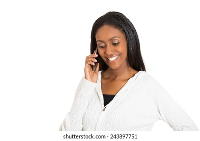 Closeup portrait headshot young happy attractive woman professional talking on cell smartphone isolated white background. Positive face expression. Technology communication building business concept