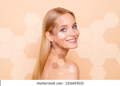 Close-up portrait of her she nice cute charming winsome lovely attractive nude naked perfect ideal clean clear cheerful girl tone honey combs cells isolated on beige pastel background