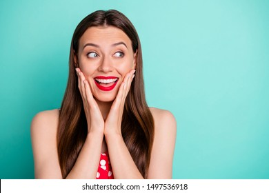 Close-up portrait of her she nice attractive lovely funny girlish cheerful glad straight-haired girl good news leisure expecting holiday isolated on green blue turquoise bright vivid shine background