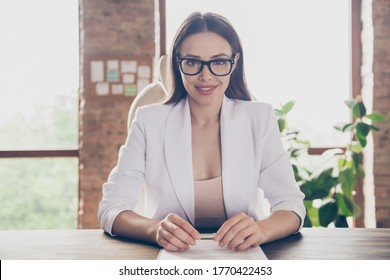 Close-up portrait of her she nice pretty chic classy cheery lady specialist partner hr director recruiting meeting appointment hiring staff modern industrial loft brick interior workplace workstation