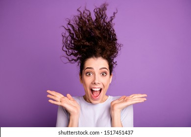 Close-up portrait of her she nice-looking attractive lovely crazy cheerful cheery wavy-haired girl hair blowing up having fun isolated over violet lilac purple pastel color background