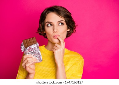 Close-up portrait of her she nice-looking attractive lovely pretty charming dreamy girl enjoying tasting dark chocolate cocoa isolated over bright vivid shine vibrant pink fuchsia color background