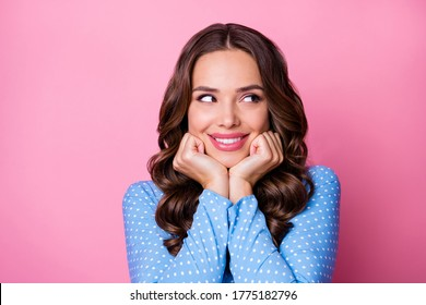 Close-up portrait of her she nice-looking attractive lovable feminine curious cheerful cheery tanned wavy-haired lady guessing new idea isolated over pink pastel color background